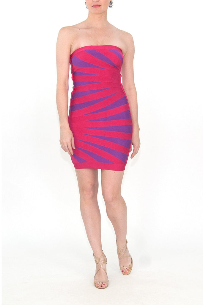 Herve Leger Pink Palm Bandage Strapless Dress