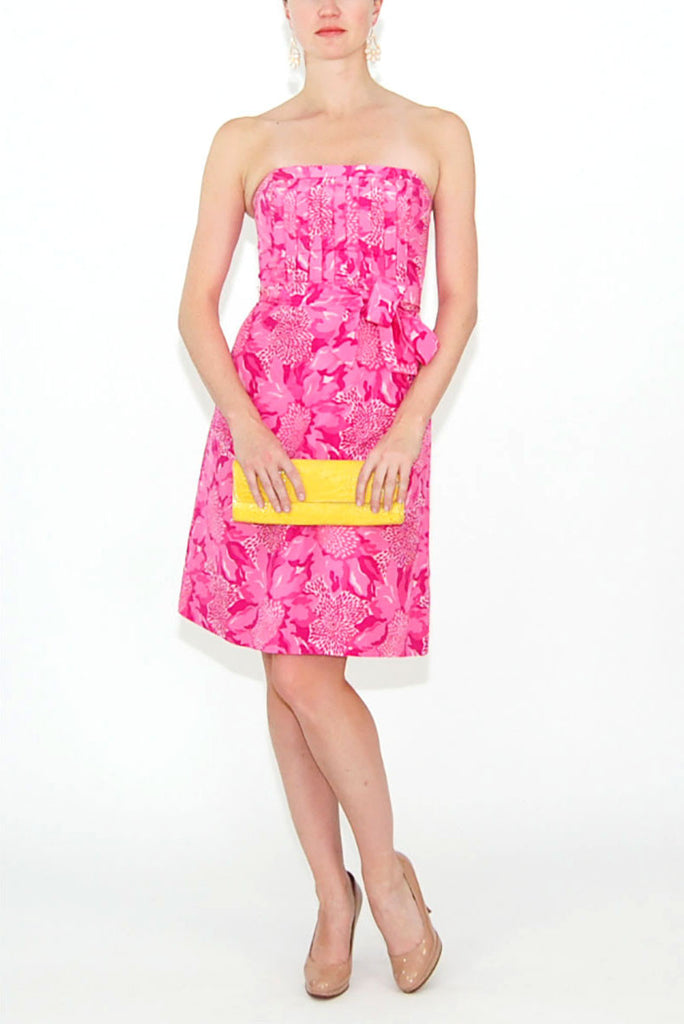Lilly Pulitzer Pink Strapless Dress with Pleated Bodice