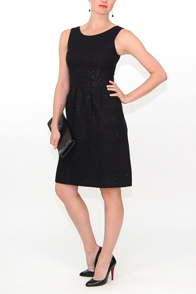 Lela Rose Wool and Patent Leather Black Sleeveless Dress