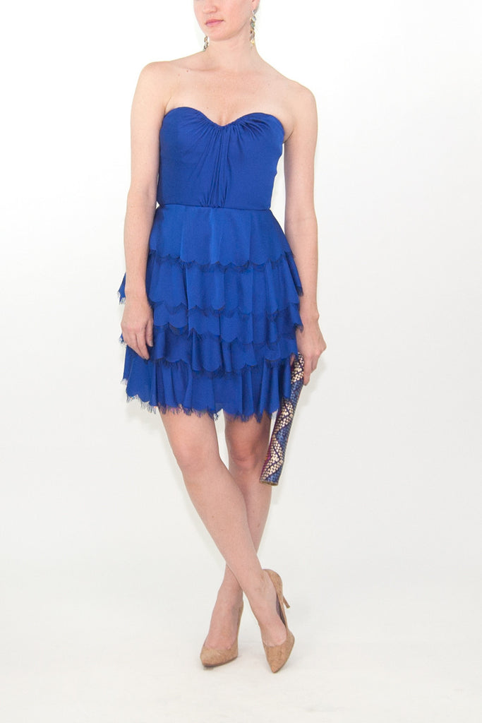 Rebecca Taylor Satin Tiered Eyelash Bustier Dress in Blue