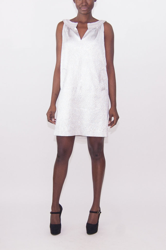 Alberta Ferretti Silver Jewel Beaded Neckline Dress