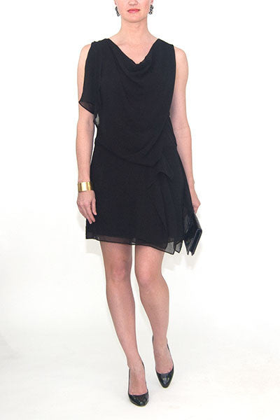 Elegant Prosper Black Drape Panel Dress