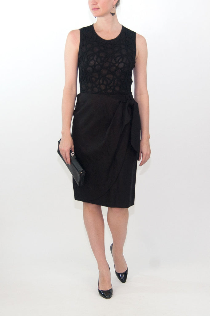 Lela Rose Black Linen Woven Cocktail Dress
