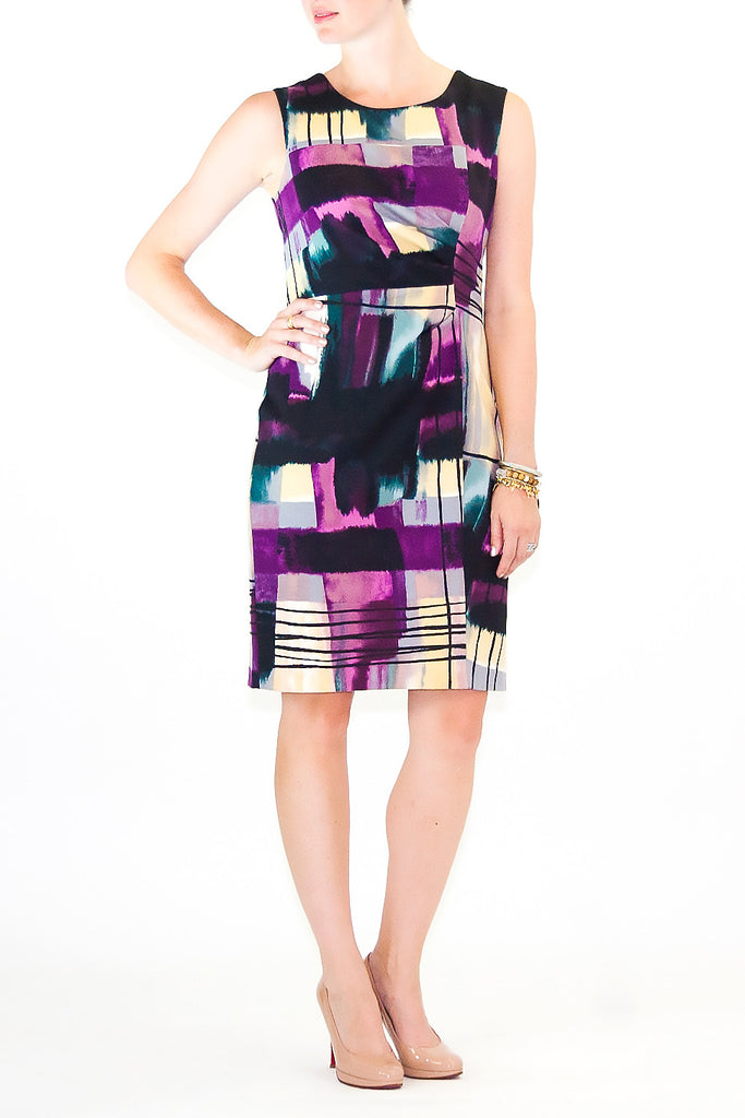 Calvin Klein-Black-Purple-Short Dress-Polyester-medium