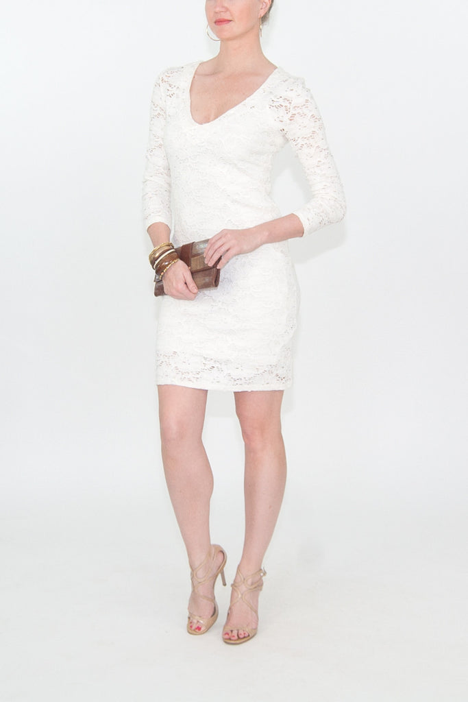 Reiss 3/4 sleeve white lace dress