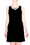 Rebecca Taylor Black Shift Dress with Shell and Sequined Neckline