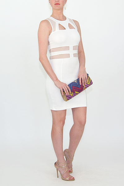 topshop white mesh cut out dress