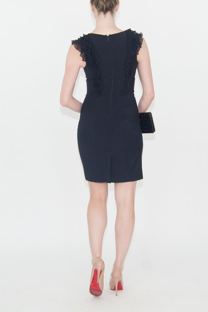 Rebecca Taylor Navy Wool Dress Ruffle Front