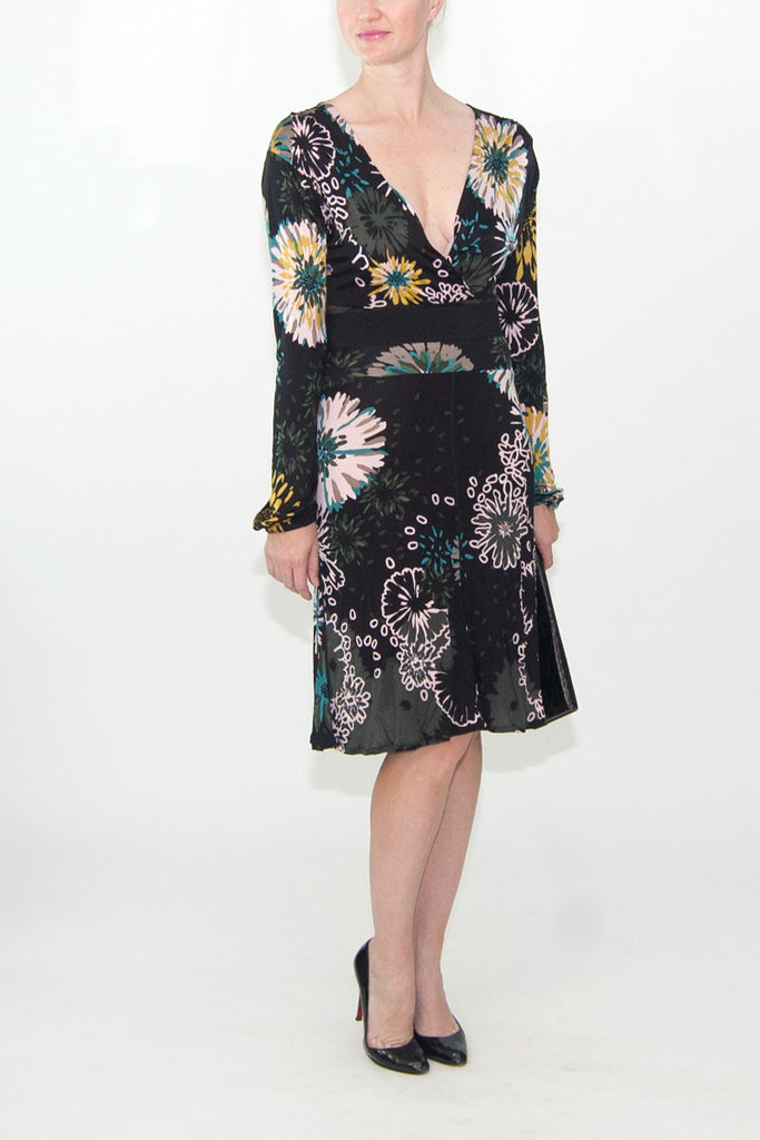 M Missoni Black Floral Print Wrap Dress