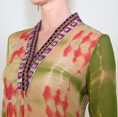 Traditional Indian Green Silk Tunic