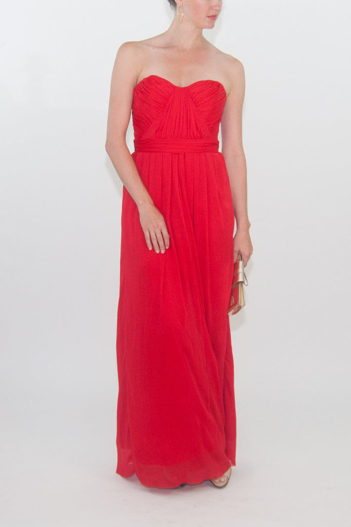 Badgley Mischka Strapless Silk Cross-Drape Gown