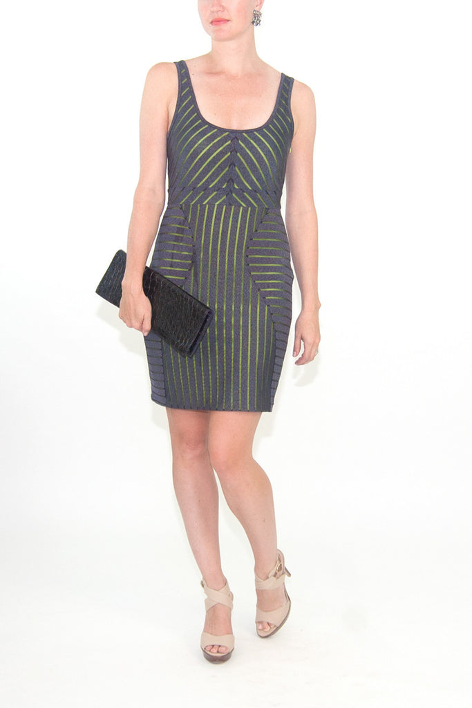 Walter Grey Cocktail Dress with Lime Green Liner