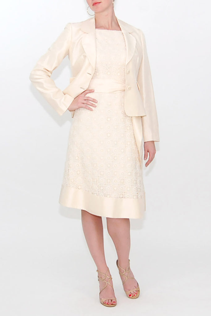 Luca Luca Ivory Cotton Lace Dress with Silk Jacket