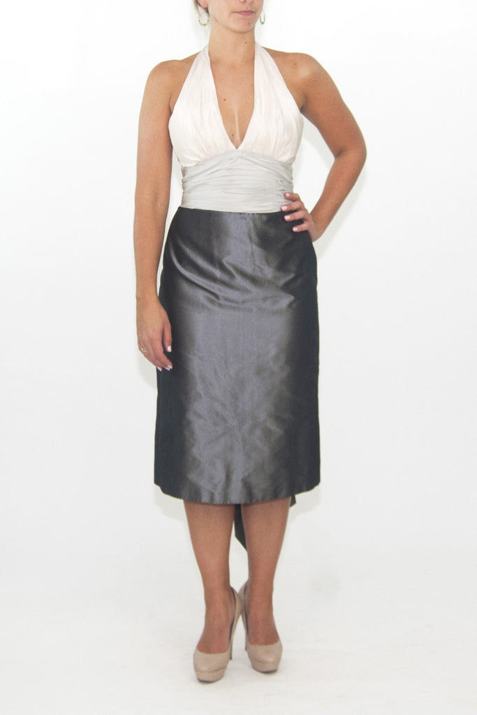 Kay Unger silk taffeta cocktail dress with 3 toned grey halter neck ...