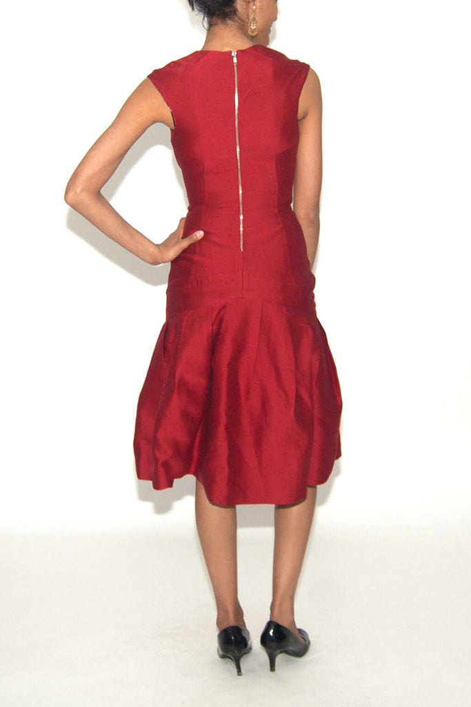 Lela Rose Red Wine Colored Dress with Bubble Skirt