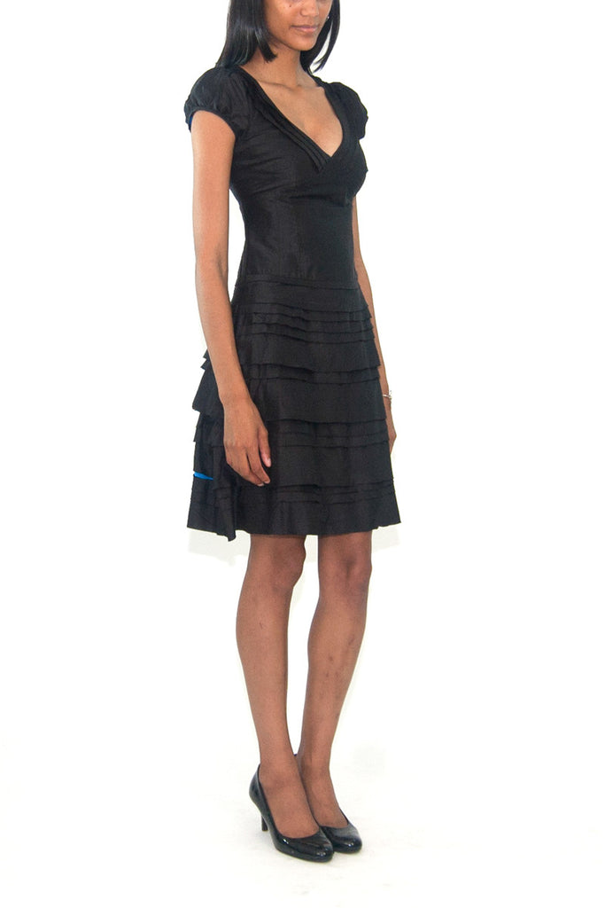 Christiane Celle Calypso Black Tiered Ruffle Dress