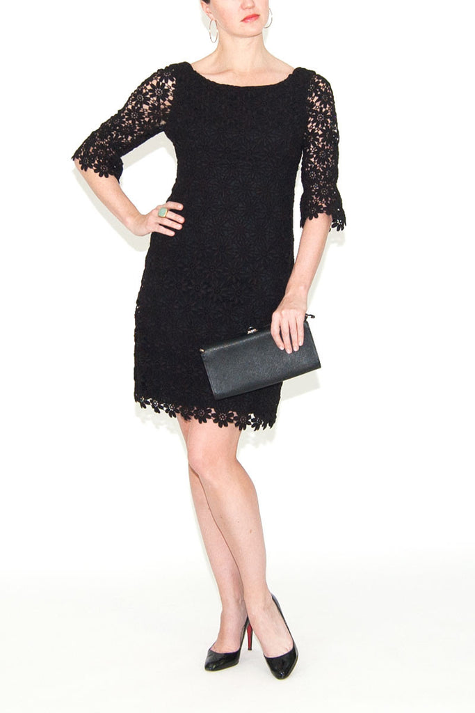 Lilly Pulitzer Black Floral Lace Dress