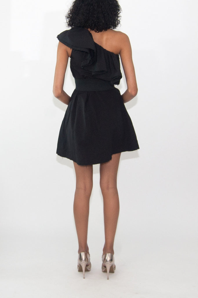 Lanvin for H&M One Shoulder Black Ruffle Frill Trim Cocktail Dress