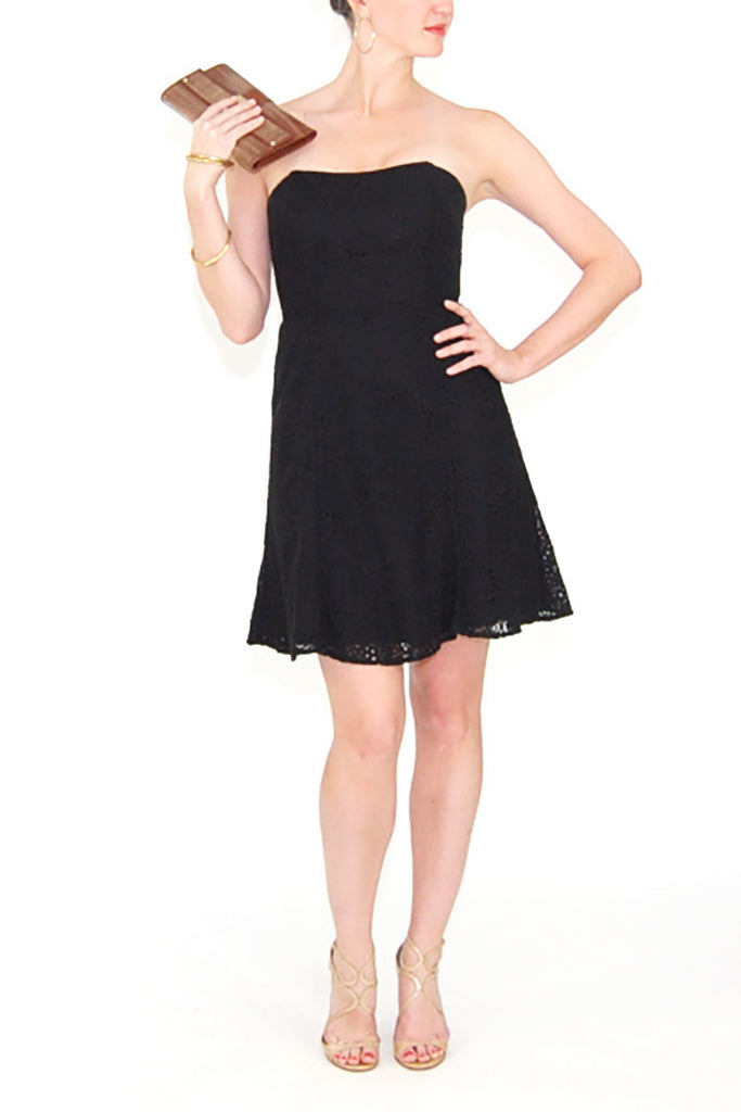Lilly Pulitzer Black Strapless Lace Dress
