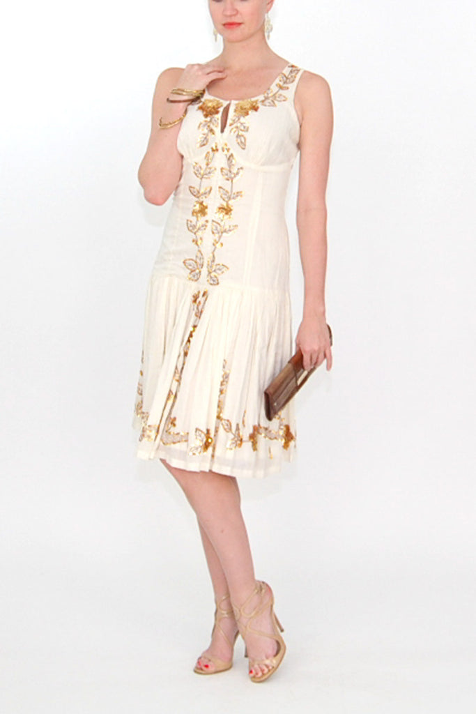 Plenty by Tracy Reese ivory Linen Dress with gold sequin leaf embellishments