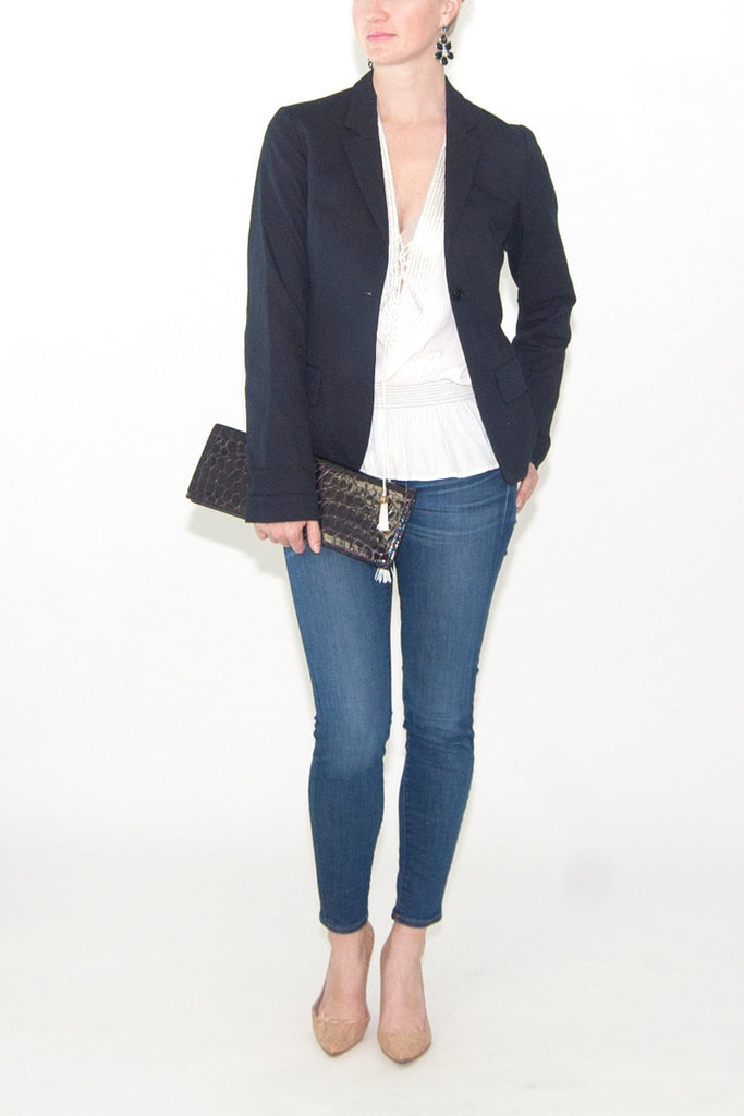 Jil Sander Navy Cotton Blazer