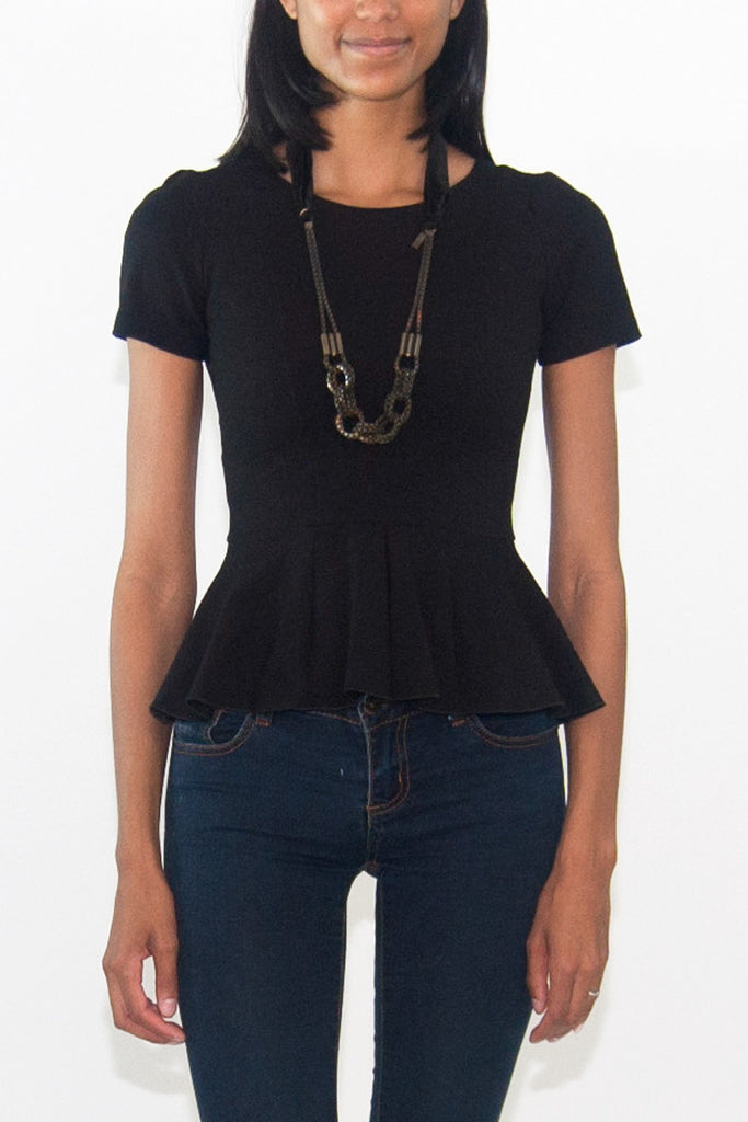 Maje Black Peplum Top