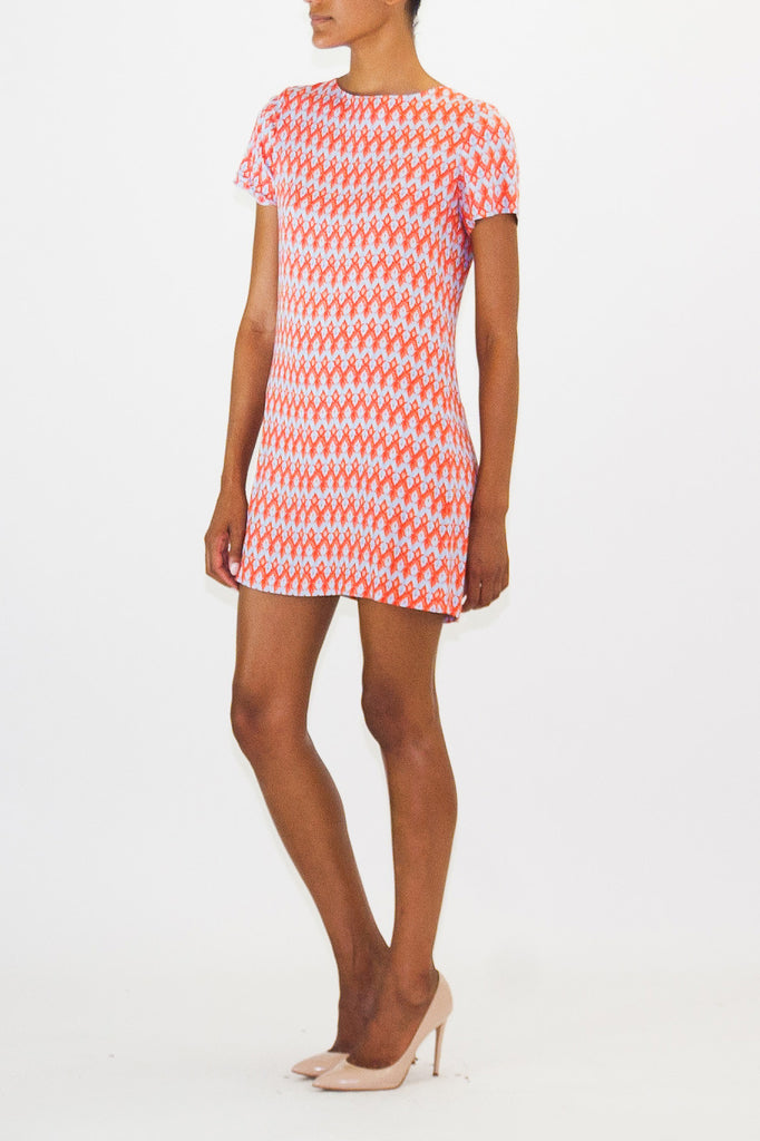 Alice + Olivia-Blue-Red-Short Dress-Rayon-small