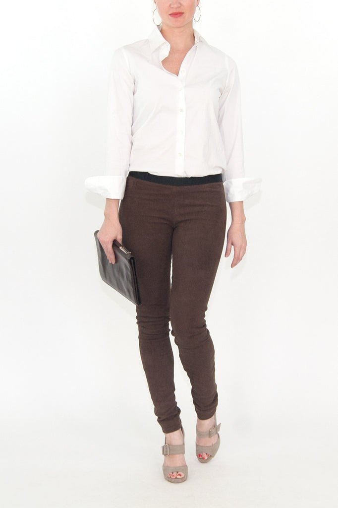 Theory Brown Lamb Suede leggings