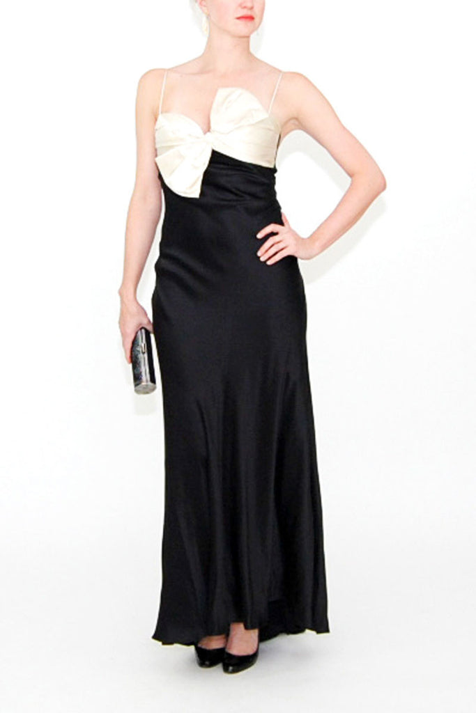 Dina Bar-El Long Black Gown with Ivory Bow Bust