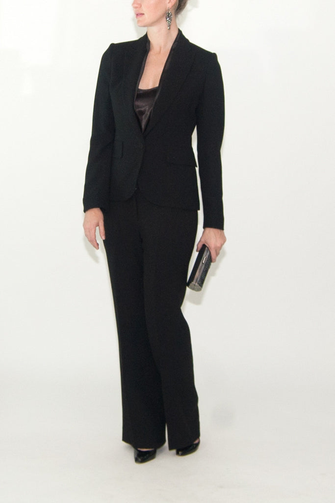 Alexander McQueen Black Suit with Satin Trim