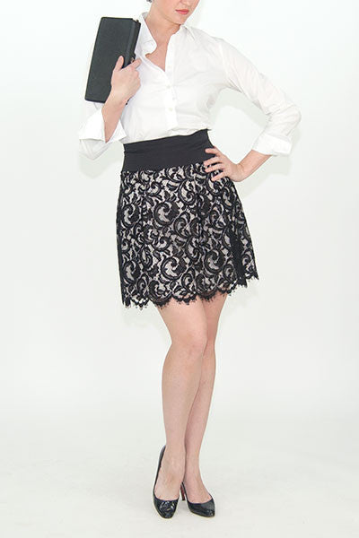 Karen Millen black lace skirt