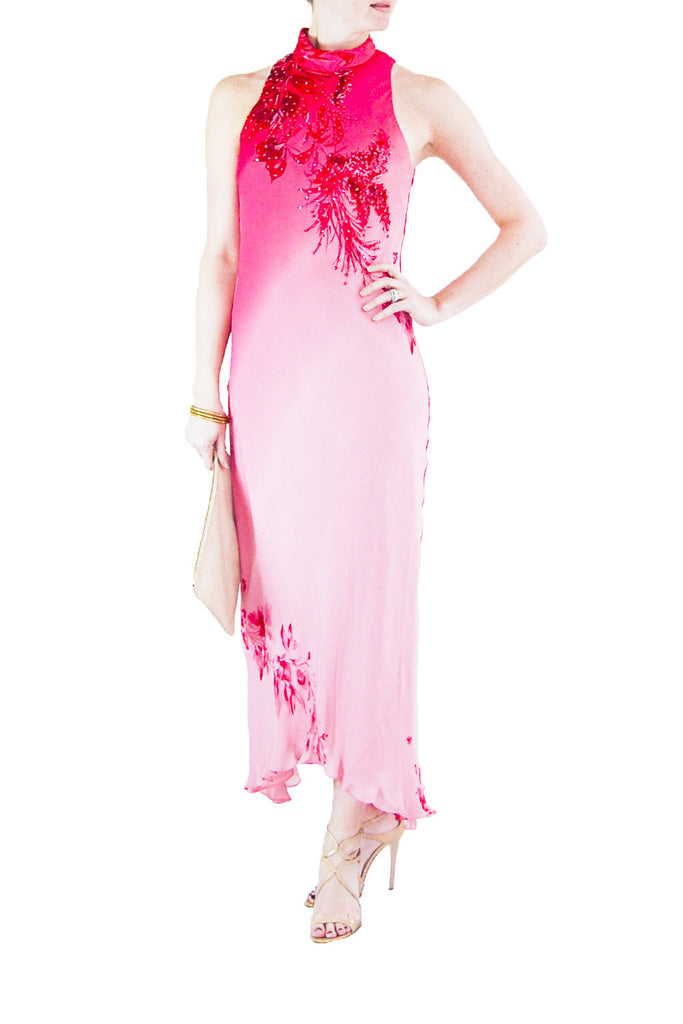 Donna Morgan Silk Fuschia Asian Inspired Gown