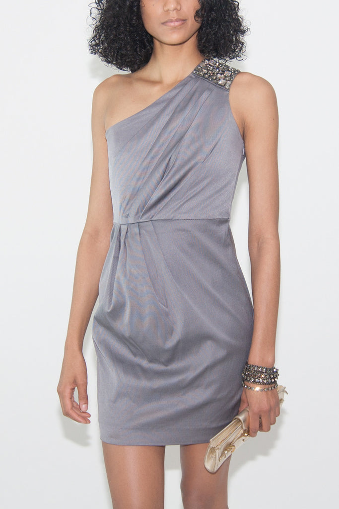 Shoshanna Ash Faille One-shoulder Beaded Dress in Gray