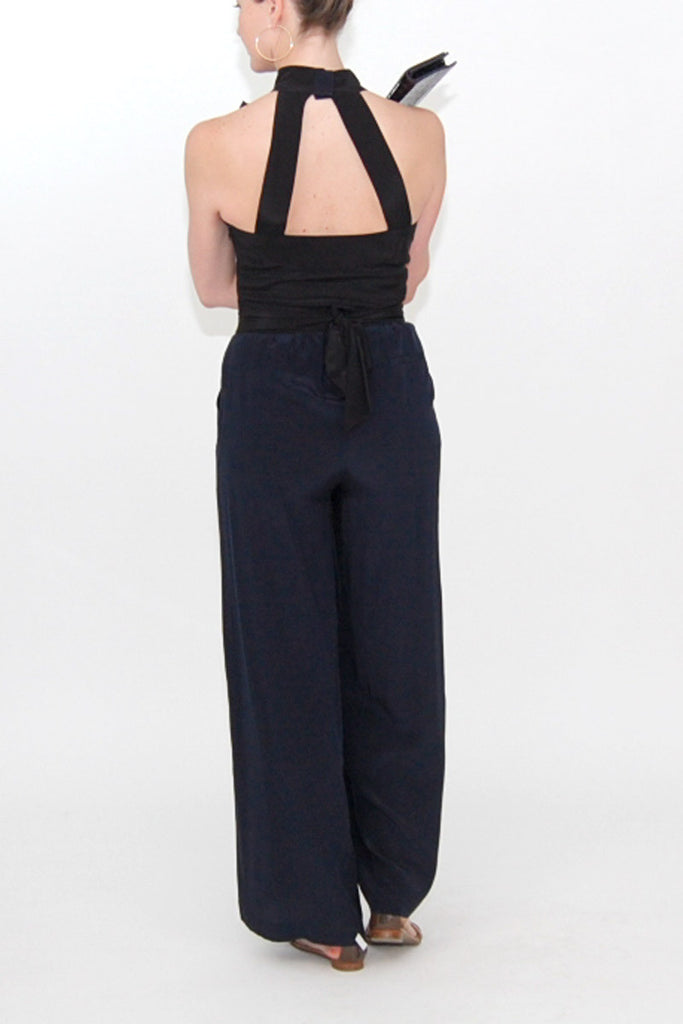 Alice + Olivia High Neck Navy and Black Jumpsuit