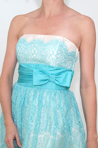 Betsey Johnsone Strapless Evening Sweet Caroline blue Lace Overlay Dress