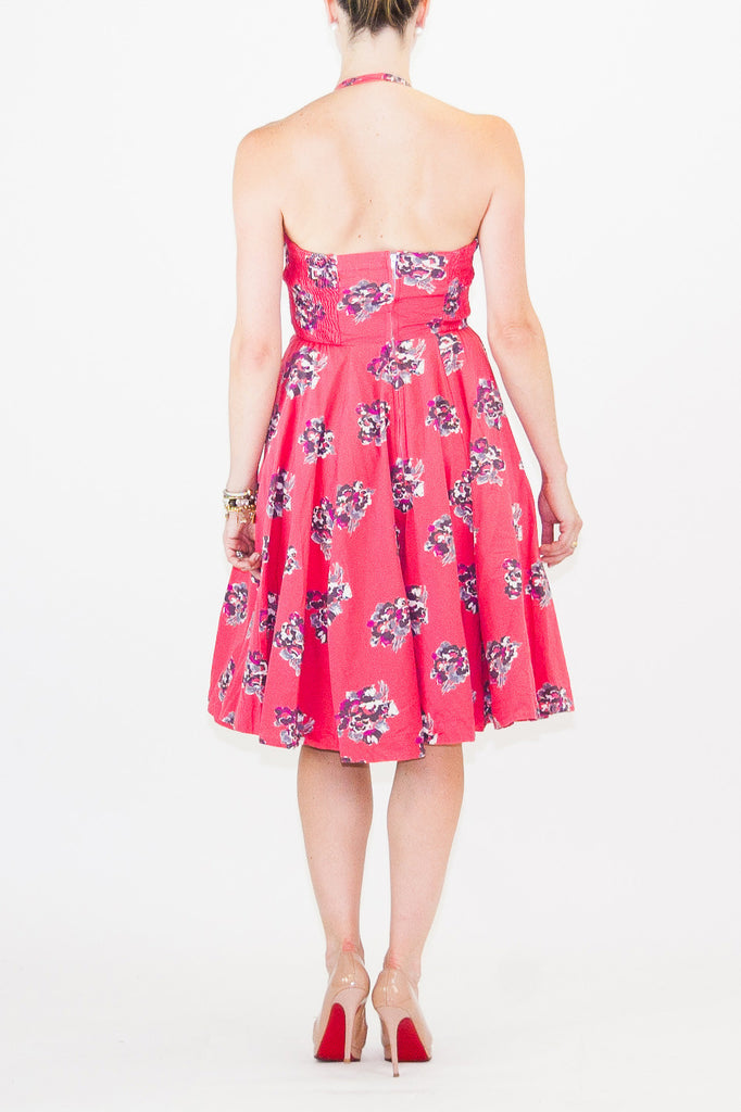 Girls From Savoy-Girls from Savoy Strapless Halter Floral Cherry Blossom Print Dress