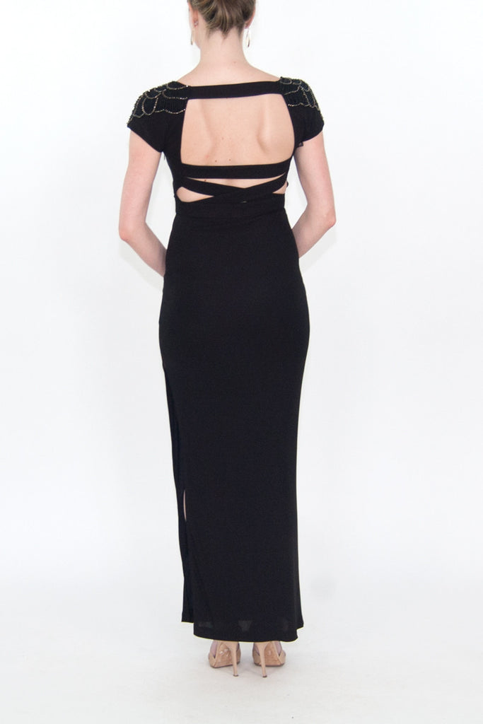 STELLA & JAMIE flutter sleeve Embellished Detail Maxi Dress
