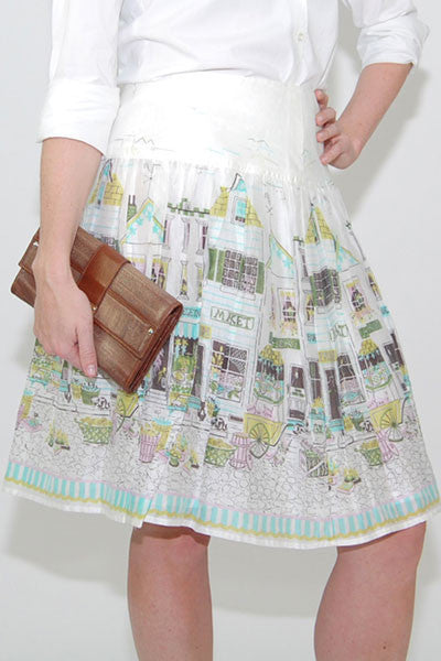 Kay Unger-White-Green-Skirt-Cotton-small