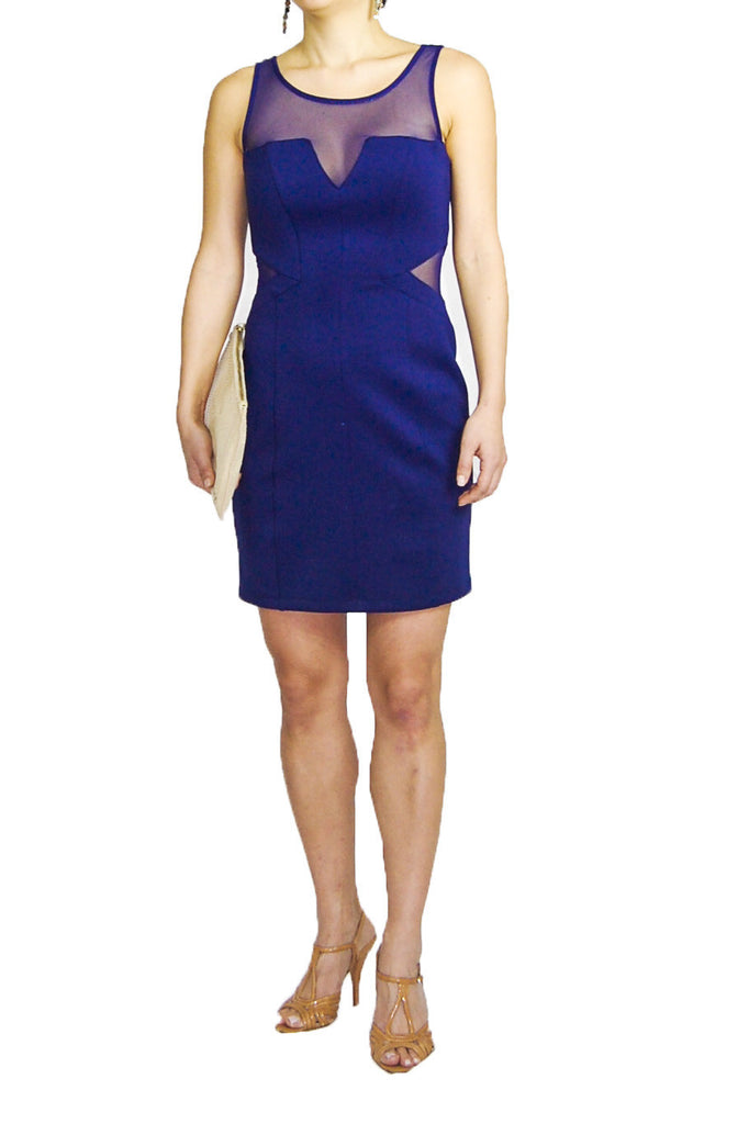 Guess Blue Dress with Cutout Mesh Sides