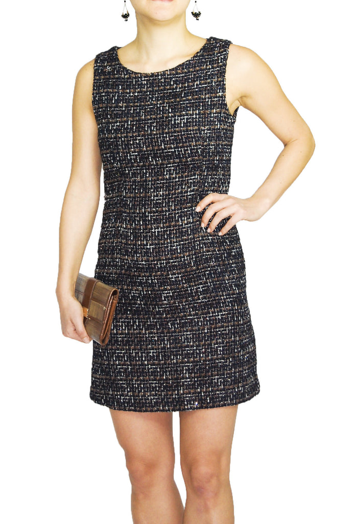 Honeycomb Tweed Shift Dress