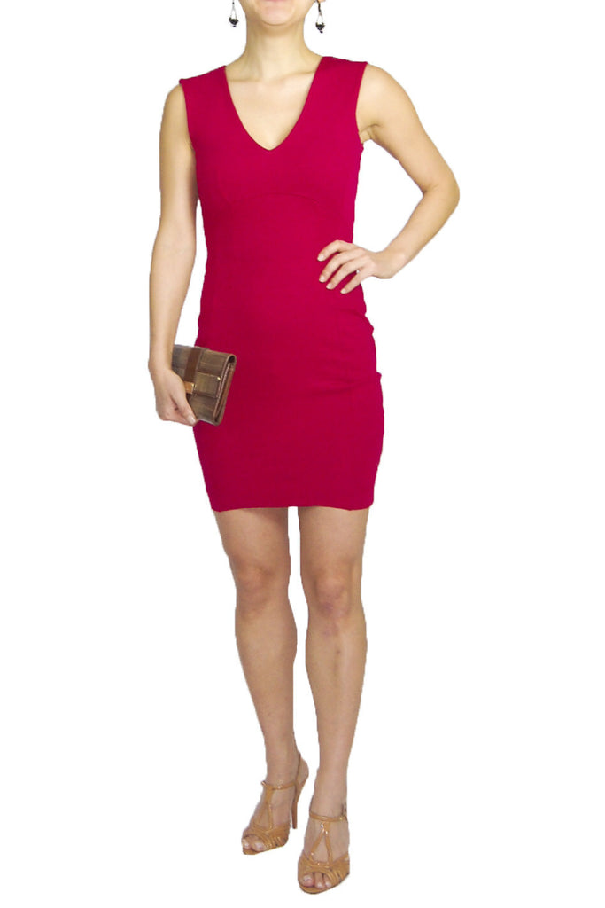 French Connection Raspberry V-Neck Fitted Dress