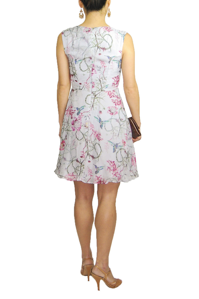 French Connection Silk Dress with a Lilac Hummingbird Print