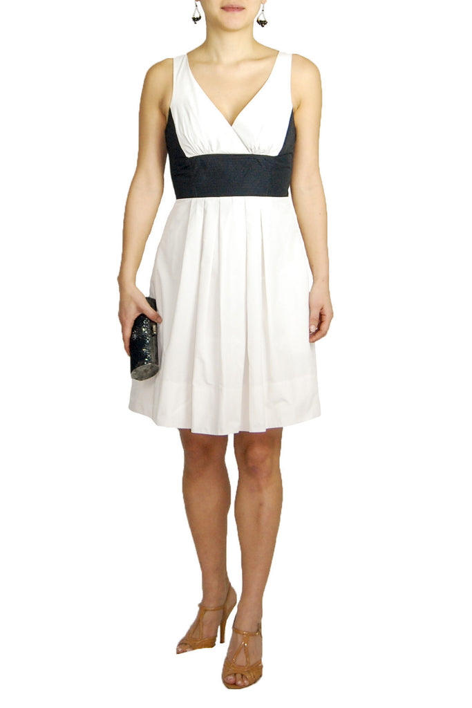 BCBG Black and White Contrast Sleeveless Dress