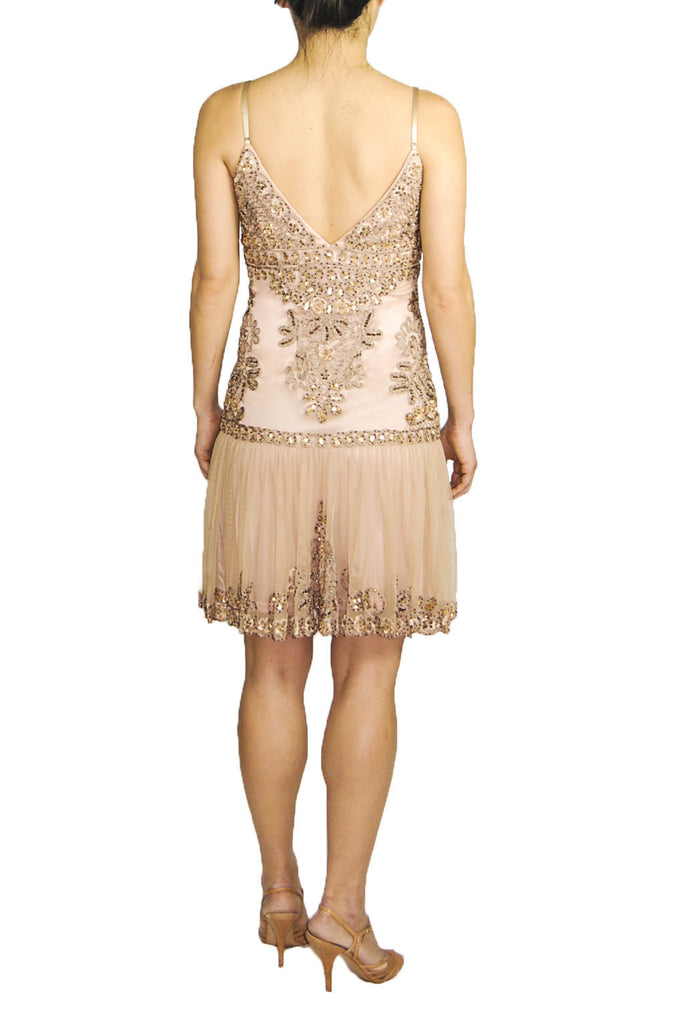 Sue Wong Beaded Drop Waisted Dress