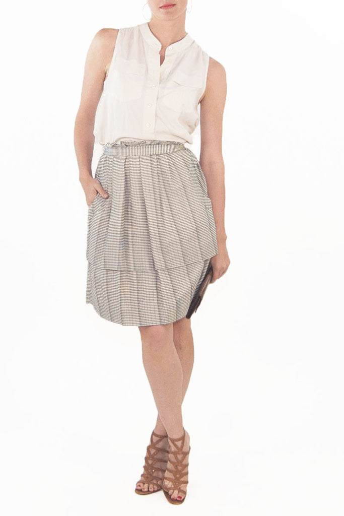 Lela Rose Patterned Pleated High Waisted Skirt with pockets
