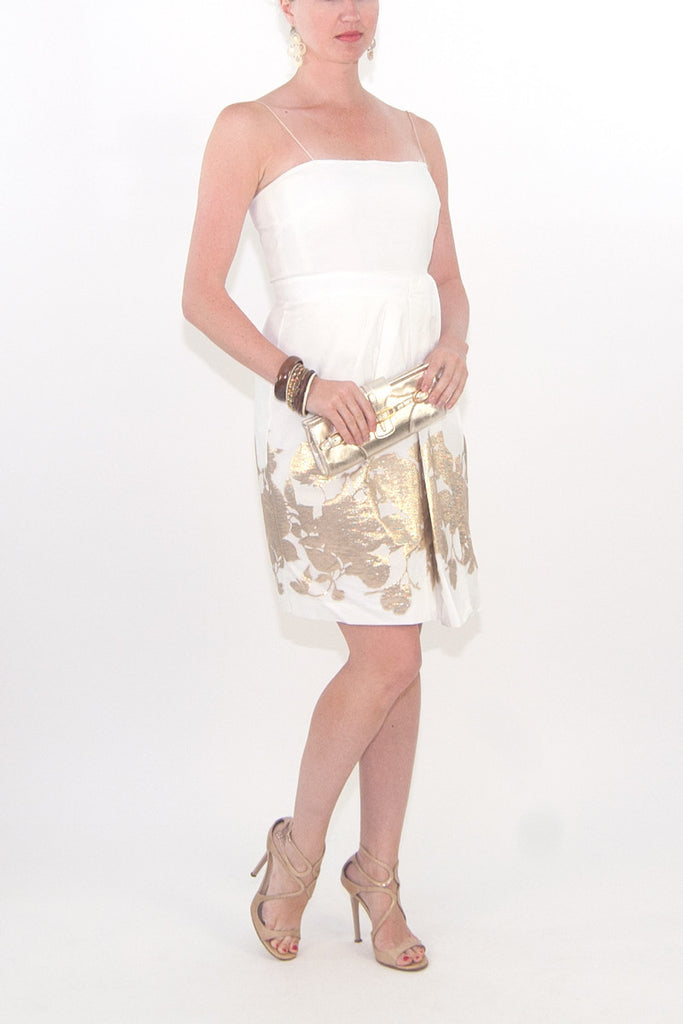 Elie Tahari White and Gold Dress