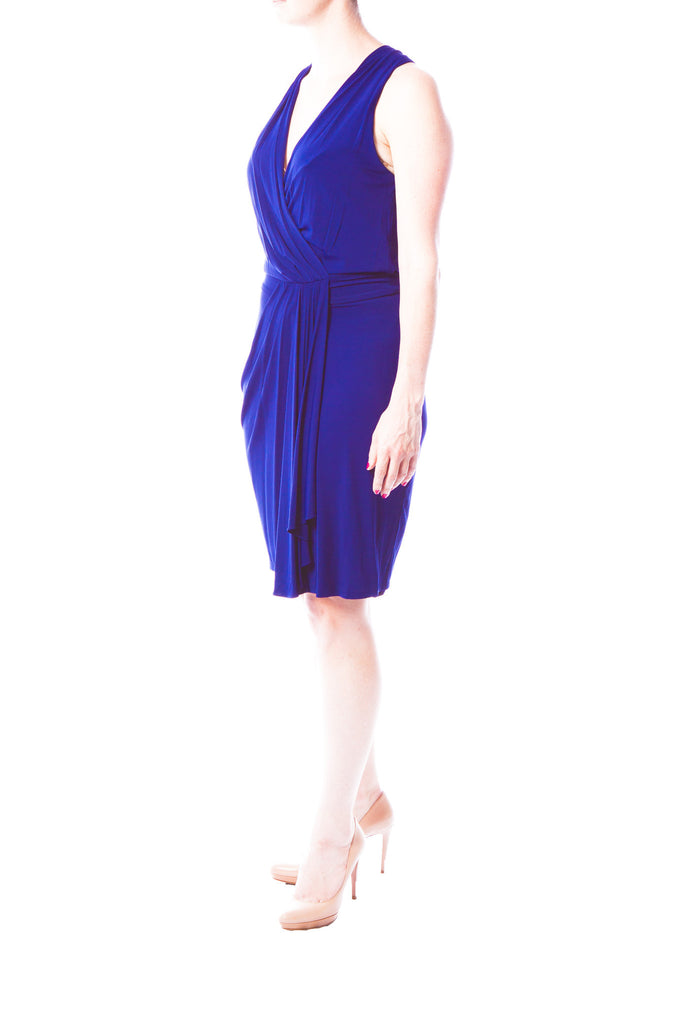 Diane Von Furstenberg Draped Navy Dress with Racerback