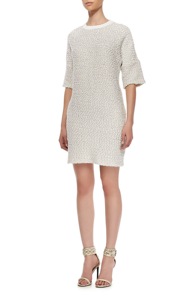 10 Crosby Derek Lam Leather-Trim Knit Dress