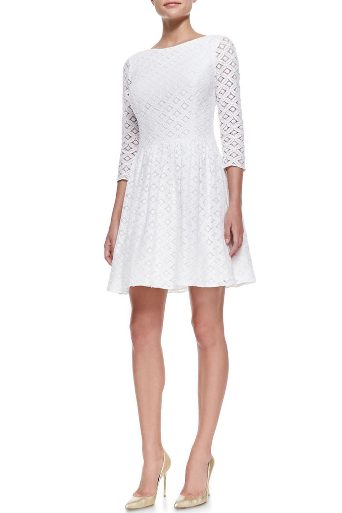 Lilly Pulitzer White Lace Lori Dress with Flared Skirt