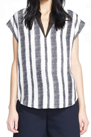 Striped Silk Tunic Top